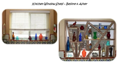 Kitchen Window Shelf Before and After