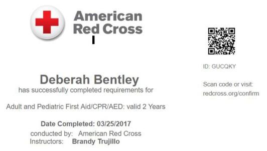 Red Cross Certification - Deborah