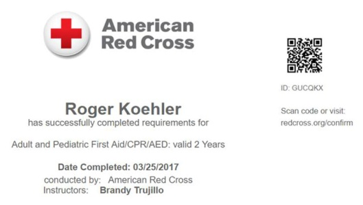 Red Cross Certification - Roger