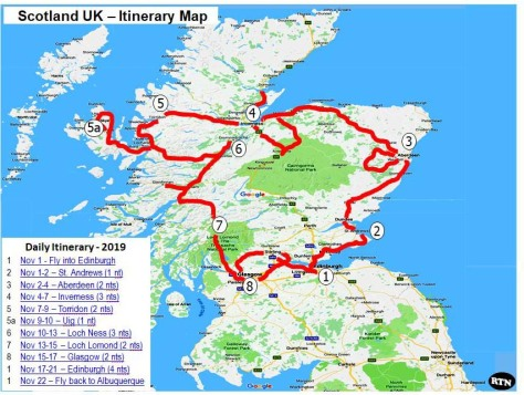 SCOTLAND 2019 - Our Three Week Driving Trip - Itinerary map